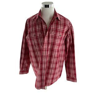 Roper Mens Red Plaid Long Sleeves Button Up Shirt